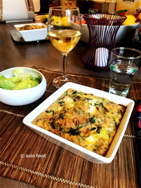 frittata epinards, poireaux, feta - solo food