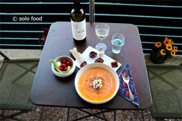 soupe au melon, féta et origan