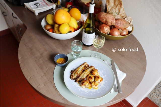 Noix Saint Jacques aux agrumes, coco, curry et citronnelle