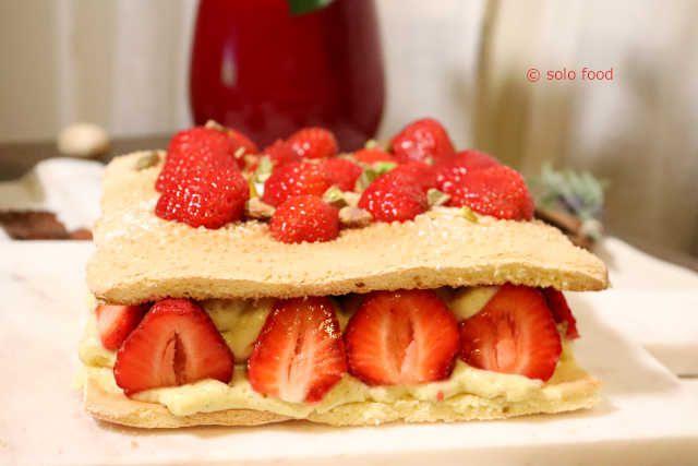 fraisier au biscuit cuillère et à la pâte de pistache de Christophe Felder