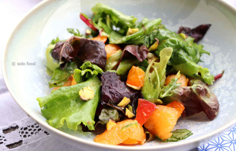 salade verte au melon, abricots et romarin